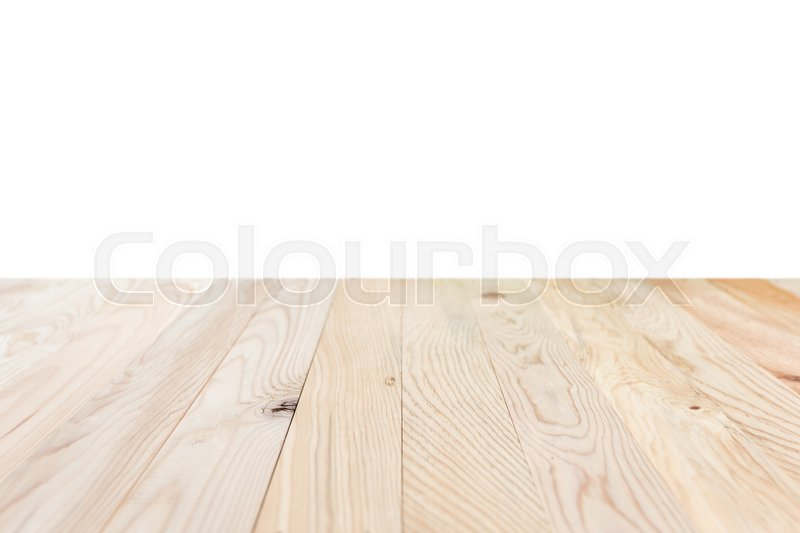 Empty top of wooden table or counter isolated on white background. Saved with clipping path, stock photo