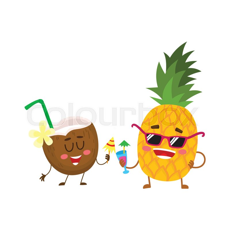 Cute And Funny Pineapple And Coconut Characters Drinking
