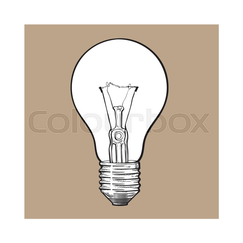 Stock Vector Of U0027Traditional Transparent Tungsten Light Bulb, Side View,  Sketch Style Vector