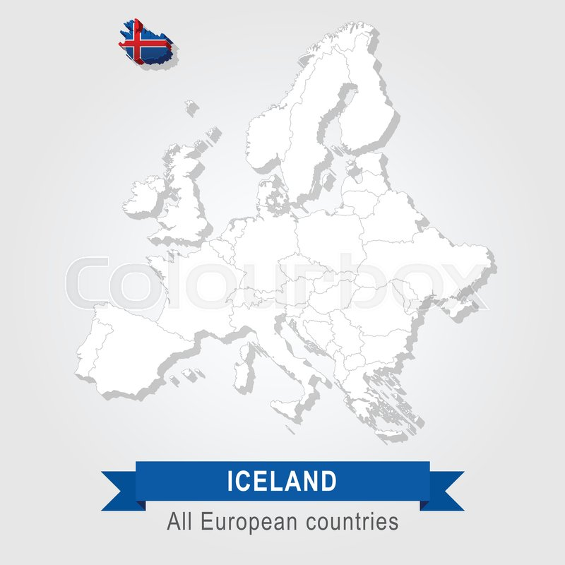 Iceland. Europe administrative map. | Stock Vector | Colourbox