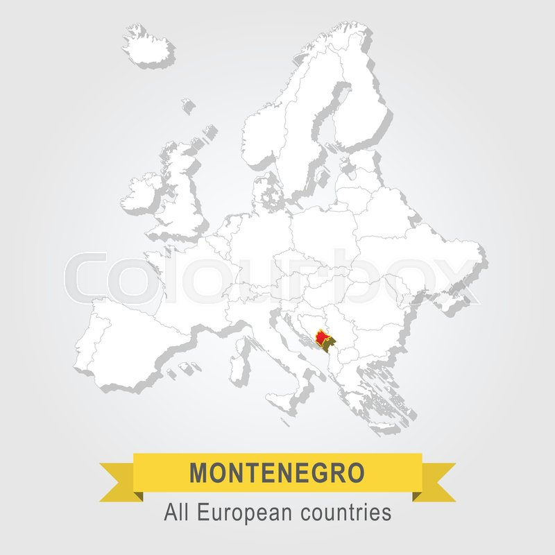 Montenegro Europe Administrative Map Stock Vector Colourbox