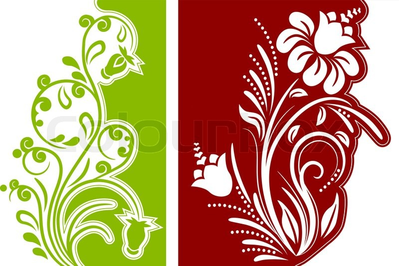delightful different design #3: Two different modern beautiful floral design elements | Stock Vector |  Colourbox