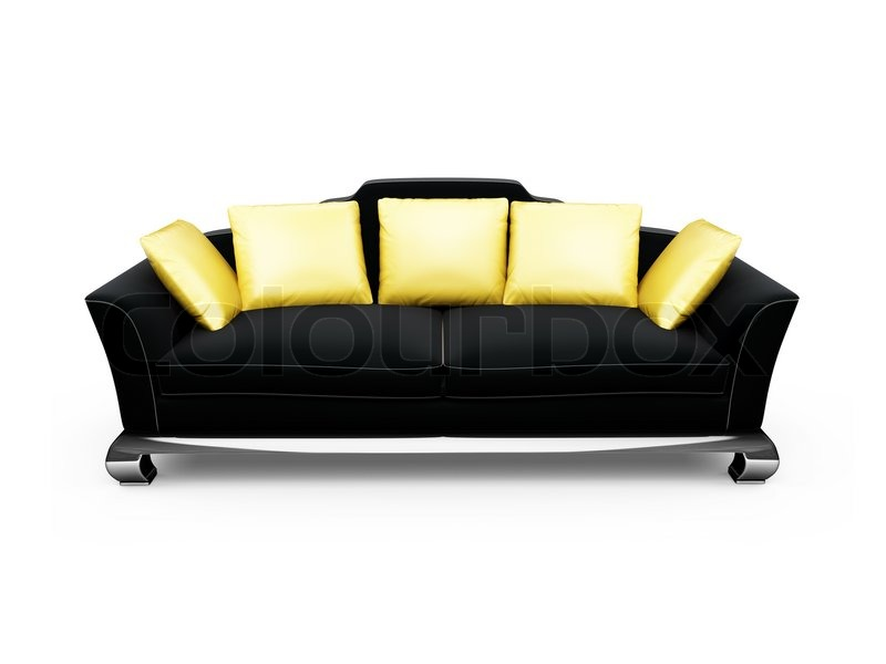Isolated Black Sofa With Gold Pillows, Stock Photo