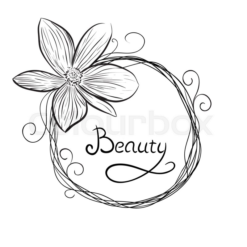 Round Frame Of Flowers Hand Drawn Stock Vector
