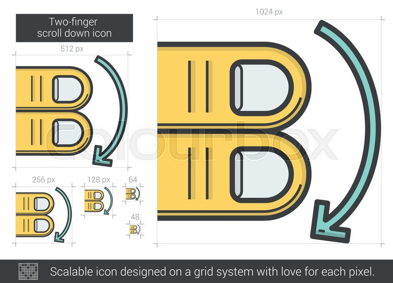 Two Finger Scroll Down Vector Line Icon Isolated On White Background