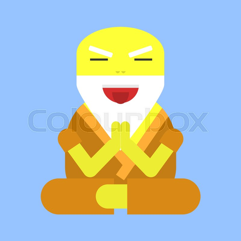 Old Funny Yoga Man In Flat Style Vector