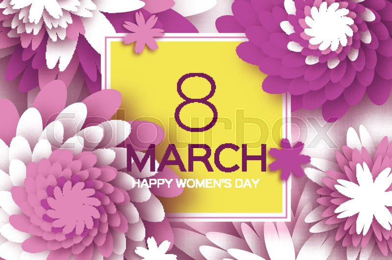 8 March Happy Mothers Day Purple Stock Vector Colourbox