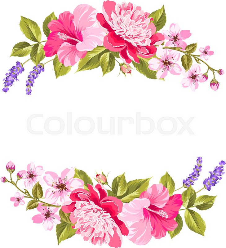 Tropical flower garland. Free copy space invitation card with floral garland. Vector ...