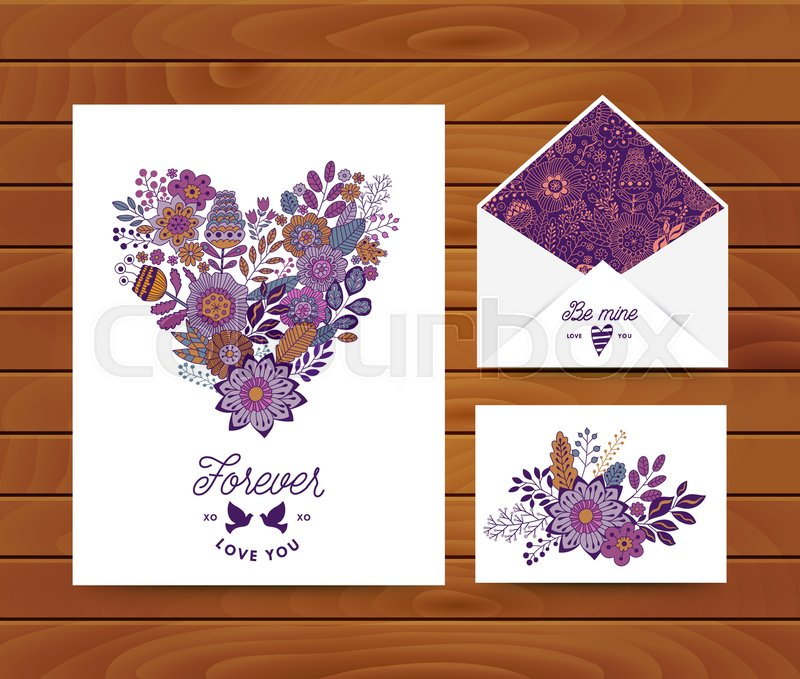 Wedding invitation template cards floral doodles design with heart stock vector of wedding invitation template cards floral doodles design with heart envelope stopboris Choice Image