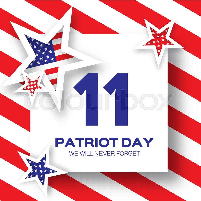 origami patriot day background with stars and stripes abstract