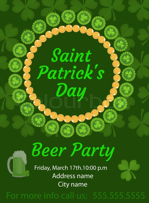 Happy St Patricks Day Invitation Poster Flyer Beer Party Template For Your Design Vector Illustration