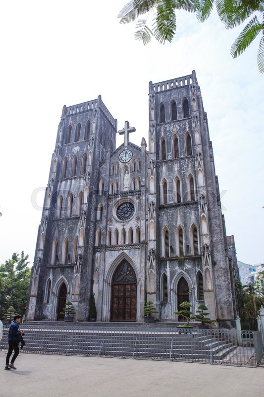 Architecture Gothic style of church the St. Joseph\'s Cathedral in Hoan Kiem Hanoi, Vietnam, stock photo