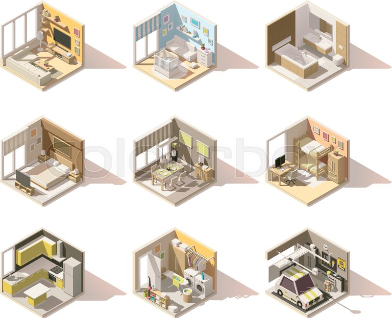 Vector Isometric Low Poly Home Rooms Set Includes Living Room