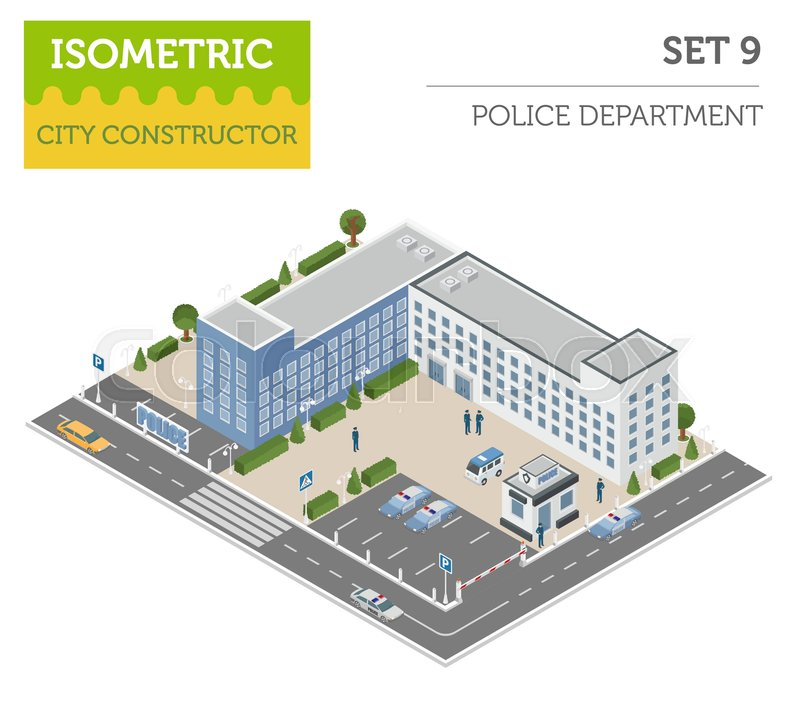 Flat 3d Isometric Police Department ...