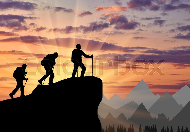 Silhouette climbers ascending to top of mountain. Concept teamwork, stock photo