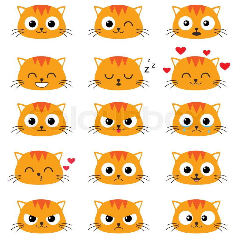 Cute Cartoon Cats With Different Stock Vector Colourbox