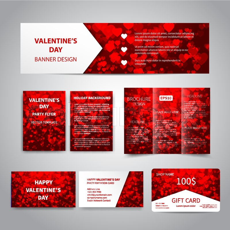 Valentine S Day Banner Flyers Brochure Business Cards Gift Card