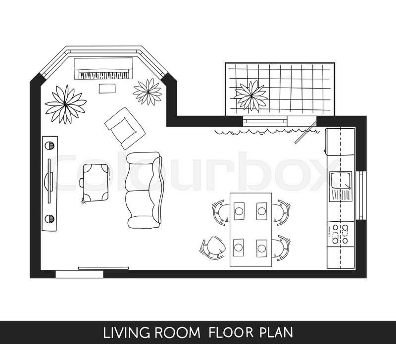 Living Room And Kitchen Plan With Hand-drawn Furniture In