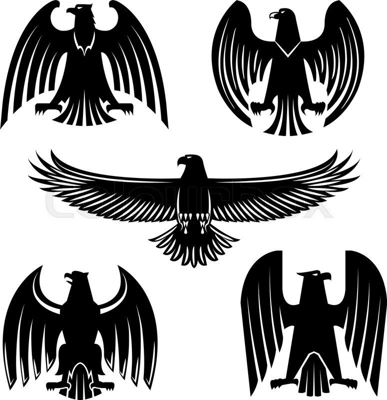 Black eagle, hawk or falcon heraldic ...   Stock vector ...