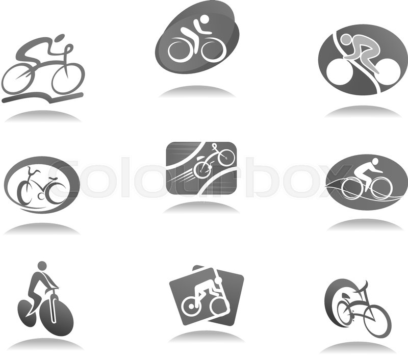 Cycle Sport And Bicycle Icon Set Cyclist And Bike Gray Symbols For