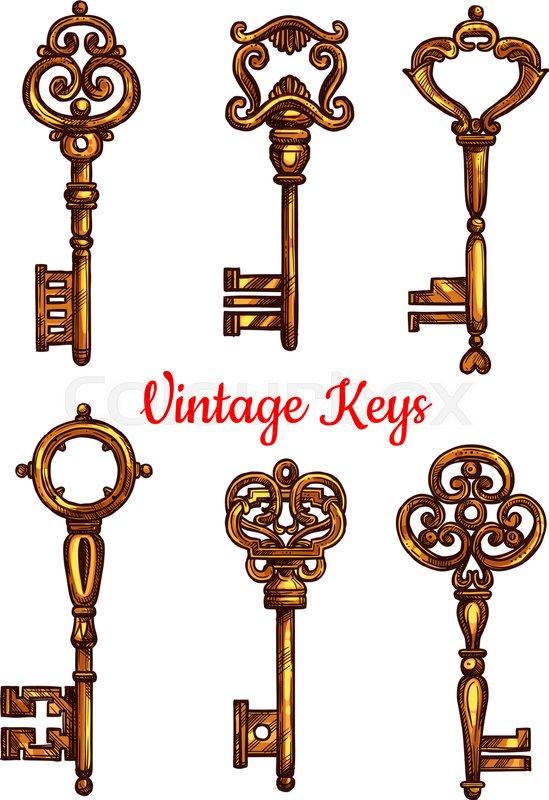 Vintage Key Isolated Sketch Set Antique Golden Door Key