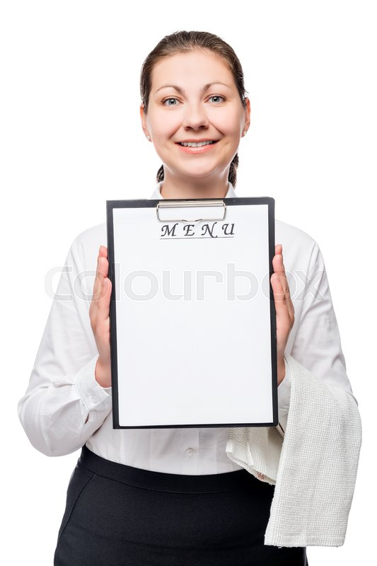 Stock image of 'Happy waitress with a blank menu entry on a white background'