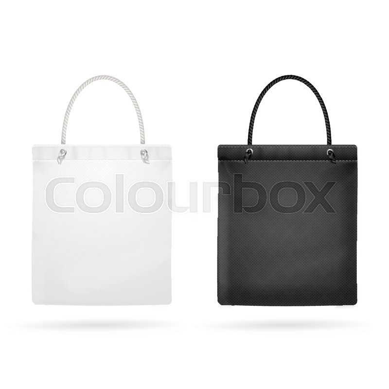 Realistic white and black template blank fabric cloth tote bag empty realistic white and black template blank fabric cloth tote bag empty mock up design element vector illustration stock vector colourbox maxwellsz