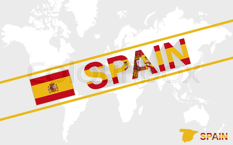 Spain Map Flag.Spain Map Flag And Text Illustration On World Map Stock Vector Colourbox