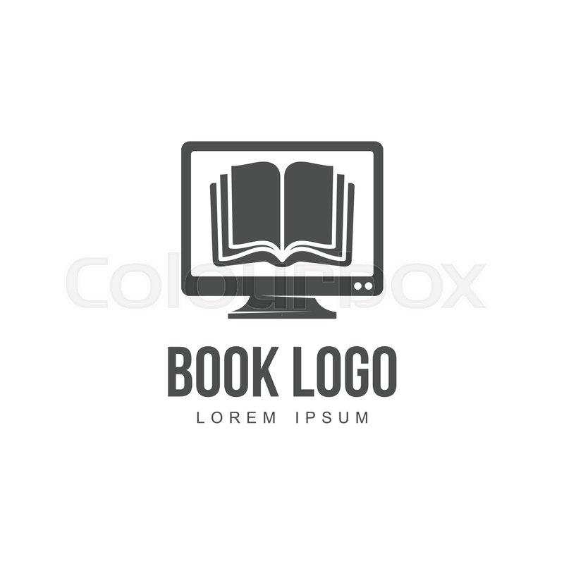 open book on computer screen graphic logo template vector