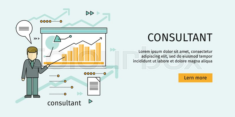 management consulting banner consultant in business suit and tie