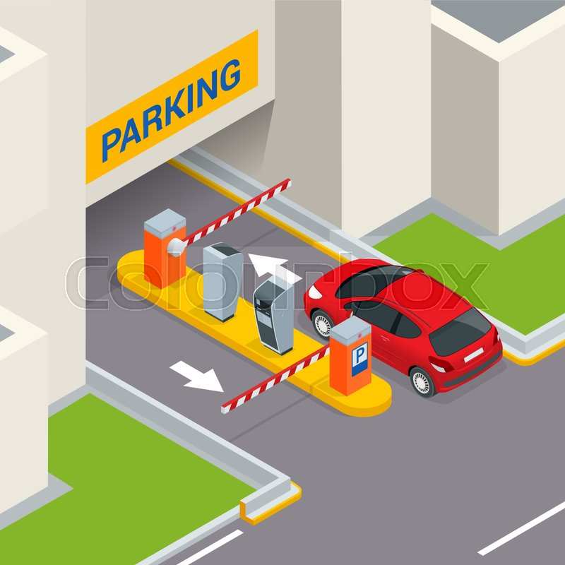 Isometric Parking Payment Station Access Control Concept