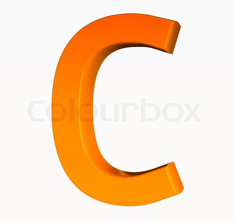 Orange Alphabet Letter C 3d Isolated On White Stock