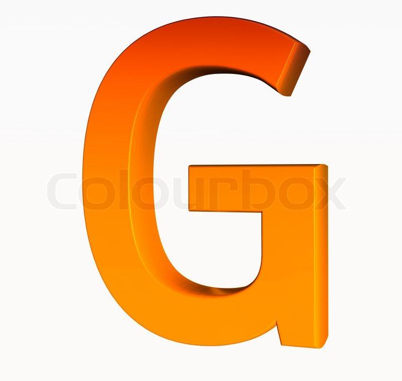 Orange alphabet. Letter G 3d isolated on white. | Stock ...
