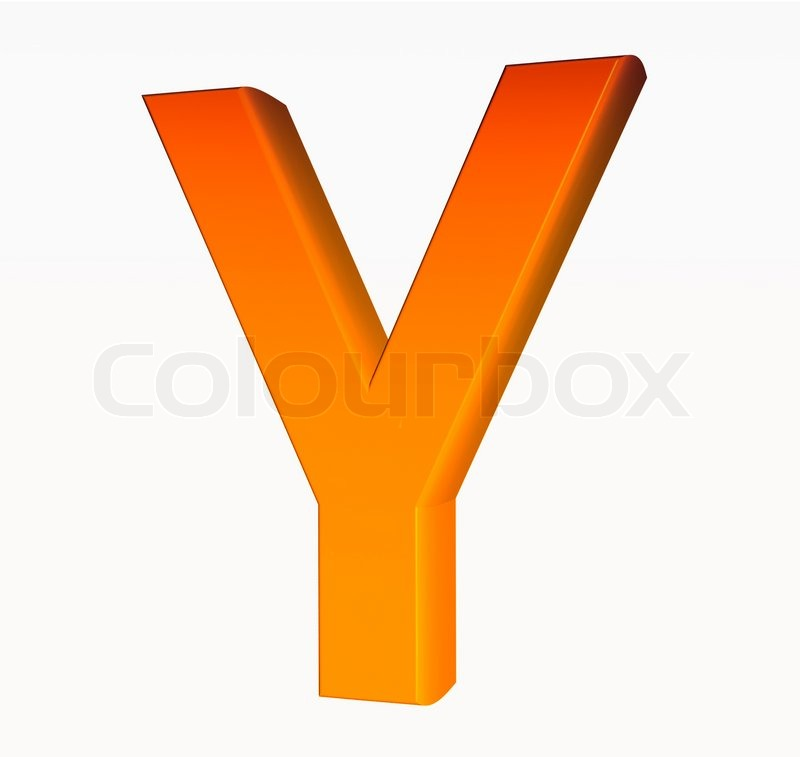 Orange Alphabet Letter Y 3d Isolated On White Stock