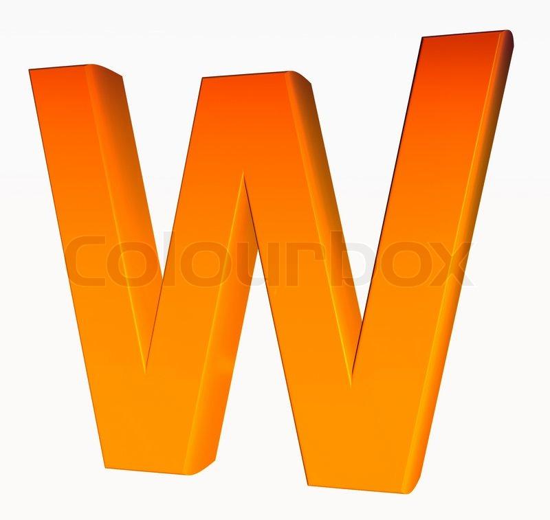 Orange Alphabet Letter W 3d Isolated On White Image 2445962 on Letter Gg Craft