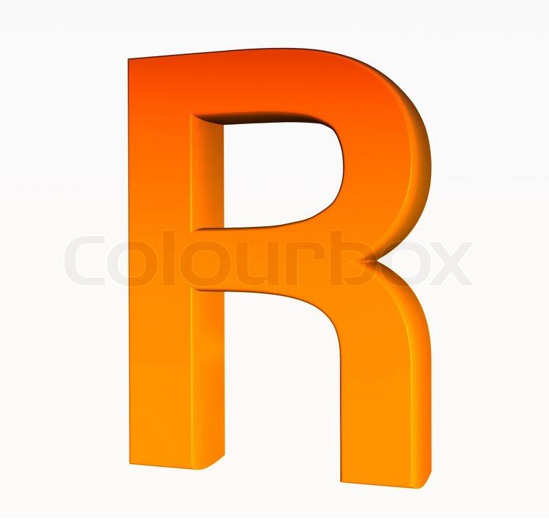 Stock image of  Orange alphabet  Letter R 3d isolated on white  The Letter R In Orange