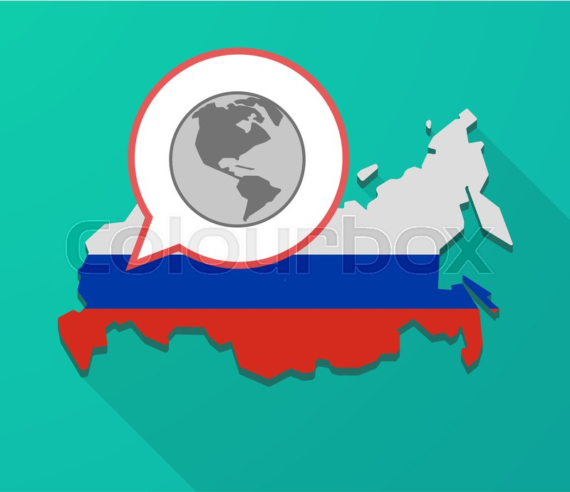 Illustration of a long shadow russia map its flag and a balloon illustration of a long shadow russia map its flag and a balloon with an america region world globe vector gumiabroncs Images