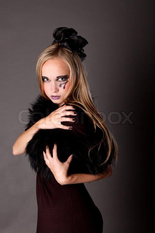 Hübsches Mädchen Make Up Wie Eine Hexe Stockfoto Colourbox
