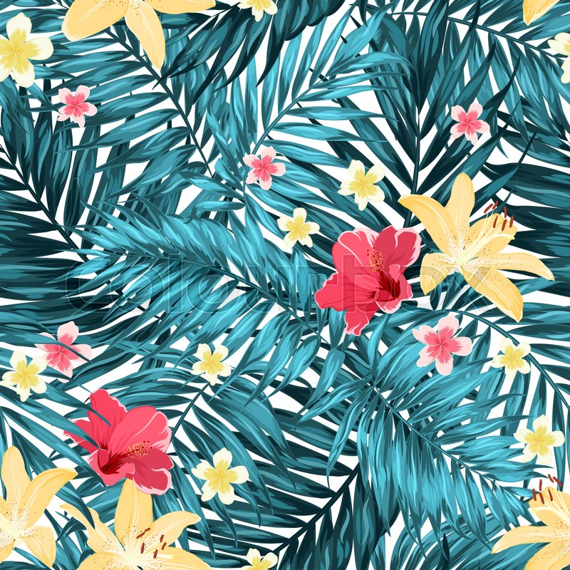 Seamless Tropical Jungle Palm Leaves Pattern With Lily Hibiscus And Awesome Tropical Leaves Pattern
