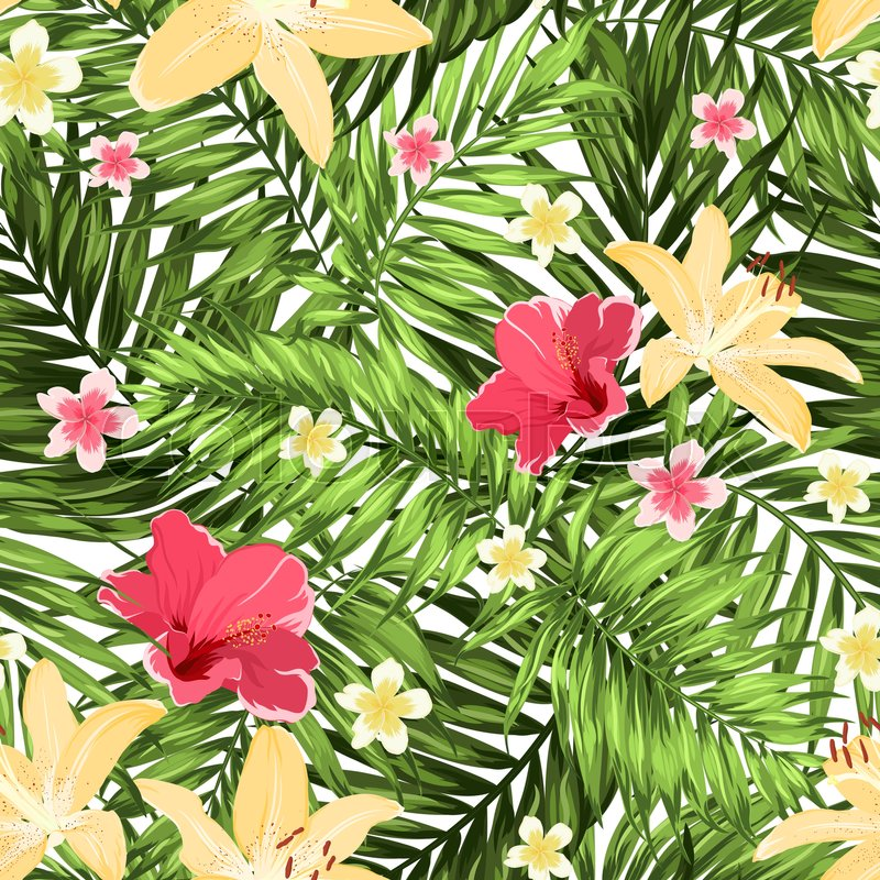 Seamless Tropical Jungle Palm Leaves Pattern With Lily Hibiscus And Plumeria Flowers Greenery On White Background Bright Colorful Exotic Rain Forest