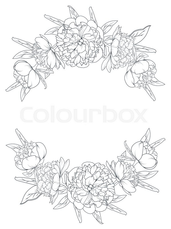 Spring Summer Peony Rose Blooming Flowers Vintage Border Frame Template Floral Laurels Foliage Garland Vector Design Element Black And White Outline