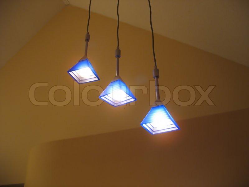 A trio of lights - contemporary interior lighting for the home, stock photo