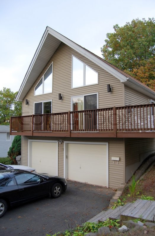 A newer, custom built, a-frame contemporary style house | Stock ...
