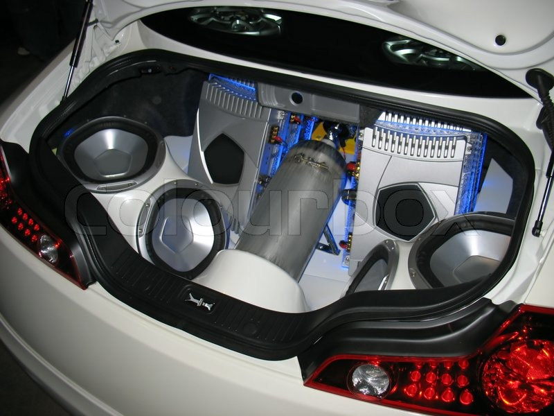 Custom Audio System In The Trunk Of A Sports Car Stock