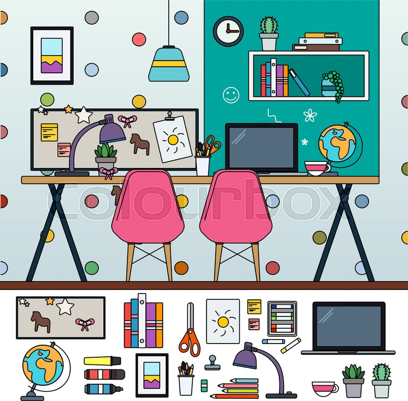 Haushalt schulgeb ude unterricht vektorgrafik colourbox for Stuhl design unterricht