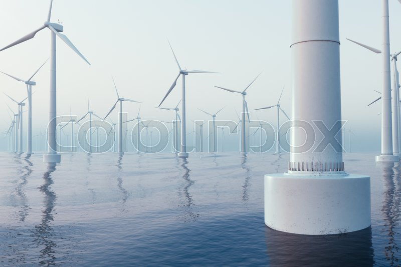 Beautiful the wind turbines in sea, ocean. Clean energy, wind energy, ecological concept. 3d rendering, stock photo