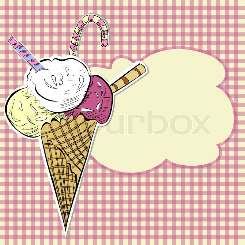 Stylized illustration ice cream   Stock Vector   Colourbox