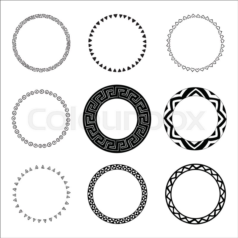 Set Of Hand Drawn Ethnic Circle Frames Doodles Style Tribal Native