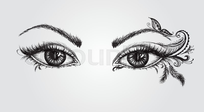 pair of eyes hand drawing vector illustration stock vector