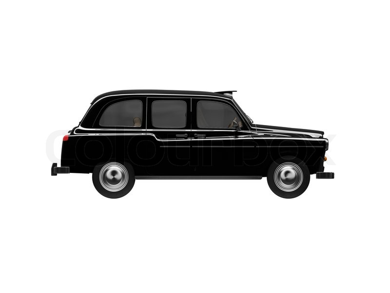 isolated black taxi on white background stock photo. Black Bedroom Furniture Sets. Home Design Ideas